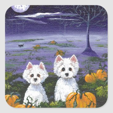Halloween Themed Funny Dog Westie White West Highland Terrier Dogs Square Sticker