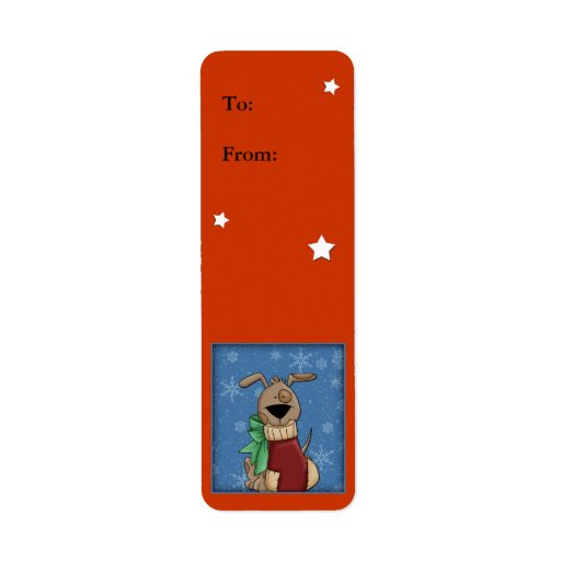 Funny dog with Christmas stocking Return Address Label