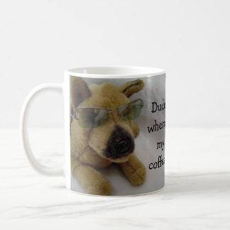 Funny Dog with Coffee Saying Coffee Mug