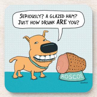 Funny Dog With Drunk Owner Beverage Coaster