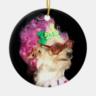 Funny dog with glasses ornament