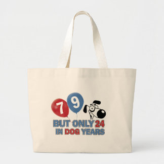 Funny dog years 79 year old designs tote bags