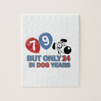 Funny dog years 79 year old designs jigsaw puzzle