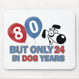 Funny dog years 80 year old designs mousepad