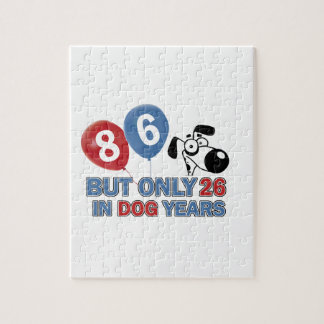 Funny dog years 86 year old designs puzzles