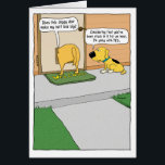 """Funny Doggy Door Birthday Card<br><div class=""""desc"""">This funny birthday card proves that even dogs wonder whether their butts look big,  and in many cases they are right to wonder. &#169;2015 Chuck Ingwersen</div>"""