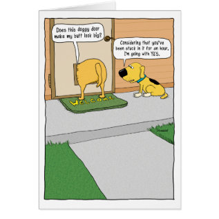 Funny Doggy Door Birthday Card at Zazzle