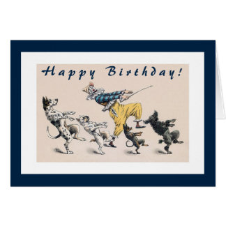 Funny Dogs and Clown 50th Birthday Card