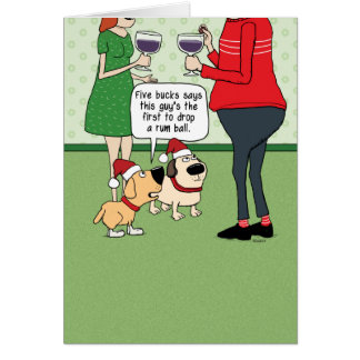 Funny Dogs at Party Christmas Card