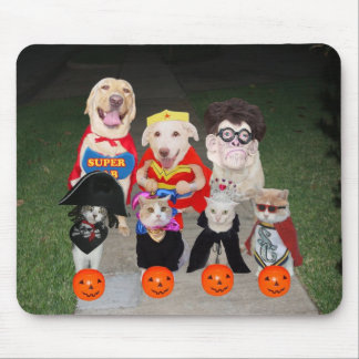 Funny Dogs & Cats Halloween Mouse Pad