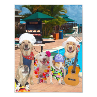 "Funny Dogs Customizable Pool Party/BBQ Invitation 4.25"" X 5.5"" Invitation Card"