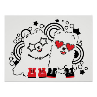 Funny dogs. Cute animal festive cool design Poster