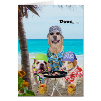 Funny Dogs/Lab in Hawaiian Shirts on Beach Cards