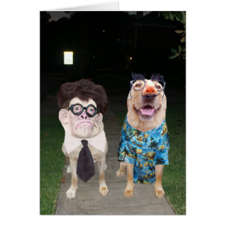 Funny Dogs/Labs as Humans on Halloween Card