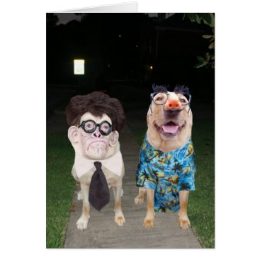 Halloween Themed Funny Dogs/Labs as Humans on Halloween Card