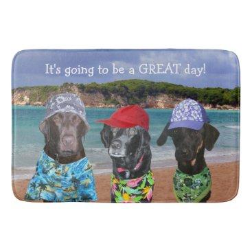 Beach Themed Funny Dogs on the Beach Bath Mat