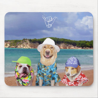 Funny Dogs on the Beach Mouse Pad