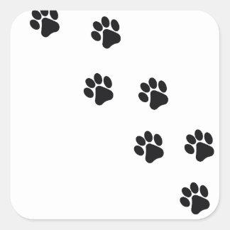 Funny dog's paw  print square sticker