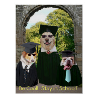 Funny Dogs Stay in School Poster