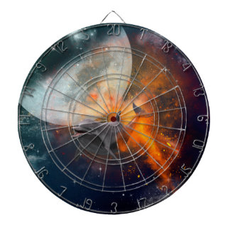 Funny dolphin in the universe dartboard with darts
