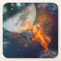 Funny dolphin in the universe square paper coaster