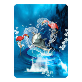 Funny dolphin jumping by a heart card