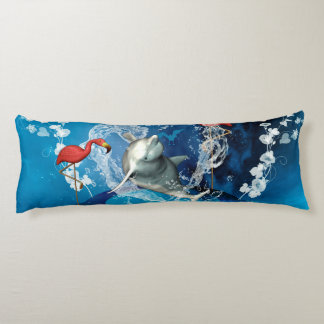 Funny dolphin jumping by a heart made of water body pillow