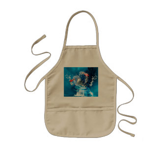 Funny dolphin jumping by a heart made of water kids' apron