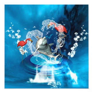 Funny dolphin jumping by a heart made of water magnetic card