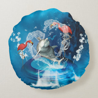 Funny dolphin jumping by a heart made of water round pillow