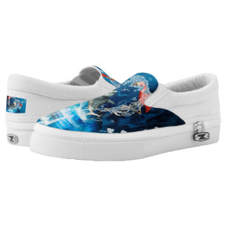 Funny dolphin jumping by a heart made of water Slip-On sneakers
