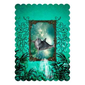 Funny dolphin jumping card