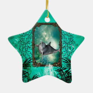 Funny dolphin jumping ceramic ornament