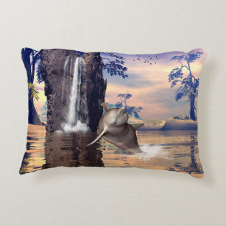 Funny dolphin jumping in a fantasy land decorative pillow