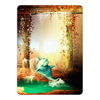 Funny dolphin jumping in a fantasy world card