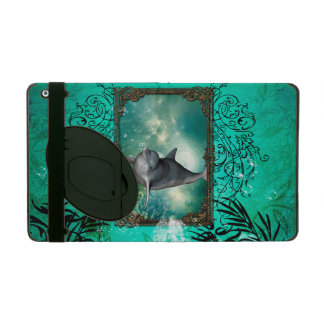 Funny dolphin jumping iPad folio case