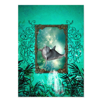 Funny dolphin jumping out of a frame card