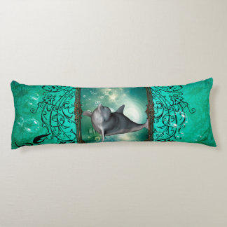 Funny dolphin jumping out of a frame with bubbles body pillow