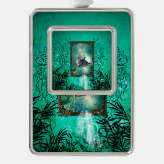 Funny dolphin jumping out of a frame with bubbles christmas ornament