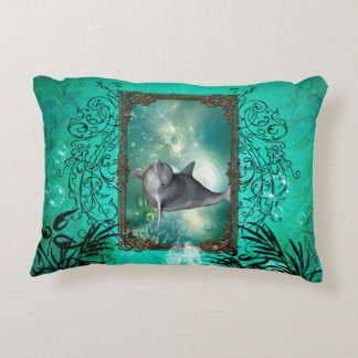 Funny dolphin jumping out of a frame with bubbles decorative pillow