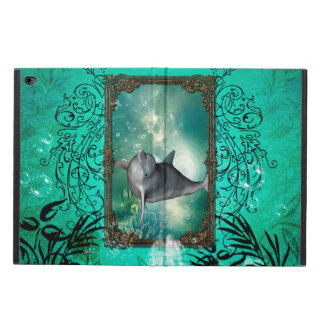 Funny dolphin jumping out of a frame with bubbles powis iPad air 2 case