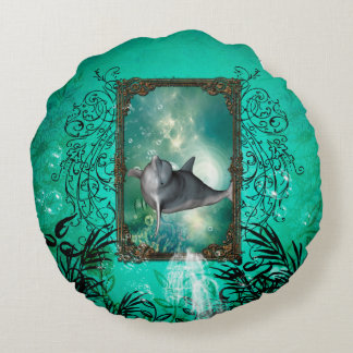 Funny dolphin jumping out of a frame with bubbles round pillow