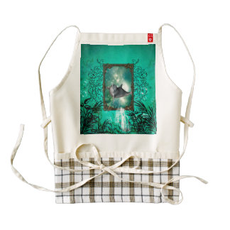 Funny dolphin jumping out of a frame with bubbles zazzle HEART apron