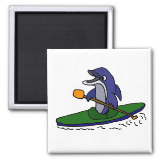 Funny Dolphin Kayaking 2 Inch Square Magnet