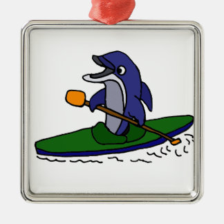 Funny Dolphin Kayaking Ornament