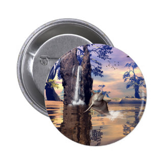 Funny dolphin pinback button