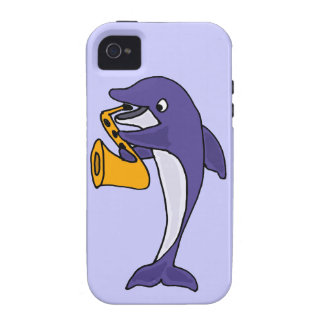 Funny Dolphin Playing Saxophone Vibe iPhone 4 Case