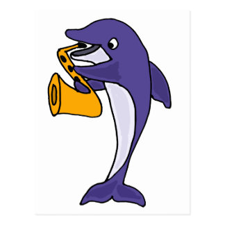 Funny Dolphin Playing Saxophone Postcard