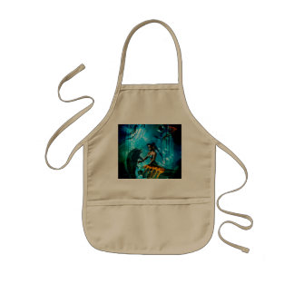 Funny dolphin playing with cute mermaid kids' apron