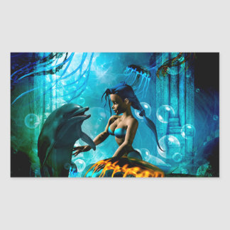Funny dolphin playing with cute mermaid rectangular sticker